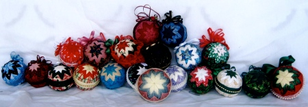 Her quilted ornaments!