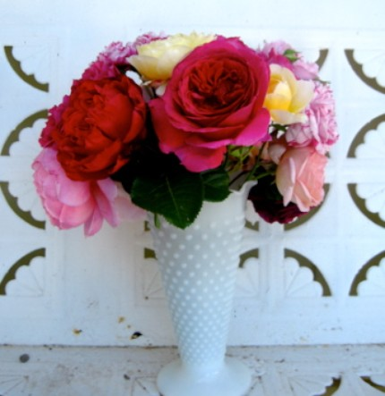 Milk Glass Mixed Rose Bouquet- Signed 8.5x11 Print